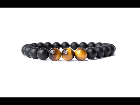 Real Natural Onyx Stone Bead Bracelet with Unique Tiger Eyes for Men and Women
