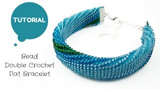 Bead Double (UK) Crochet Flat Bracelet | Bead Crochet Tutorial | Bead Tutorial | Handmade Bracelet