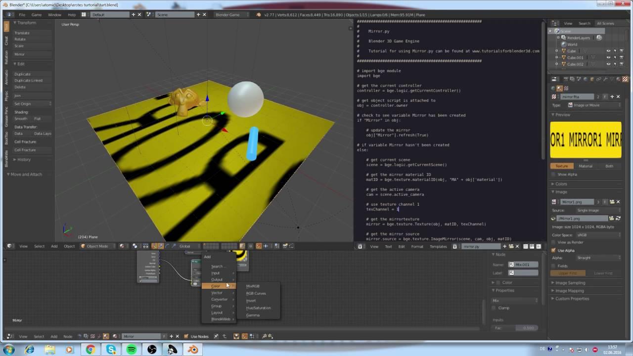 Tutorial Blender Game Engine BGE Mirror