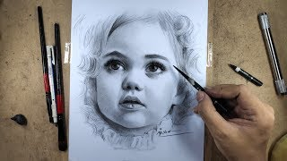 Realistic Portrait Drawing With Charcoal Pencil