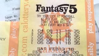 California Lottery Fantasy 5 Jackpot Winning Ticket