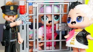Unicorn Family Visit Playmobil Police Jail | LOL SURPRISE Fun Toys + Dolls for Kids | ToyEggVideos