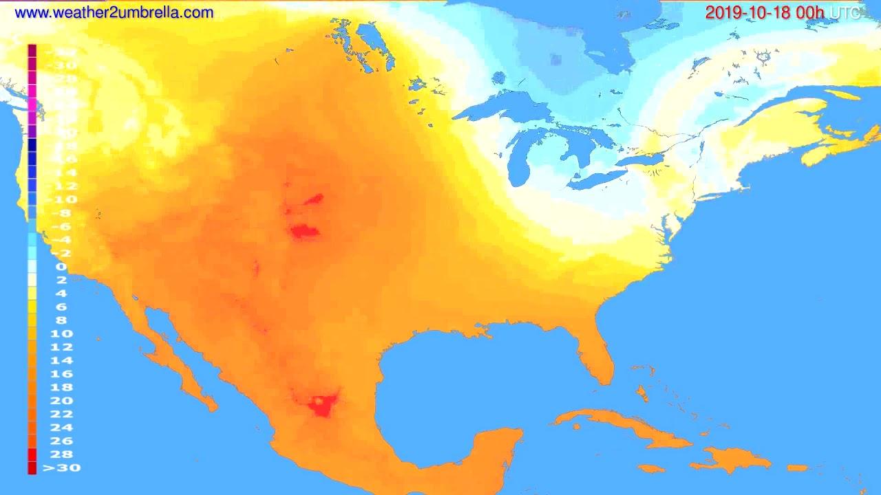 Temperature forecast USA & Canada // modelrun: 00h UTC 2019-10-17