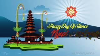 Ulundanu Balinese Temple In Happy Day Of Silence Nyepi Çaka New Year 1941 Holiday Greeting Animation