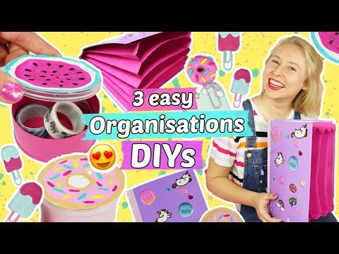 3 easy ORGANISATIONS DIYS selber machen 📚Ordner & Boxen basteln 😍BACK TO SCHOOL