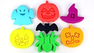 Learn Colors with Fun Play Doh Molds Kinder Surprise Egg Halloween Modelling Clay for Kids