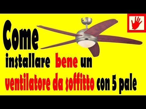 Ventilatore da soffitto a 5 pale e luce  ceiling fan with light and remote control