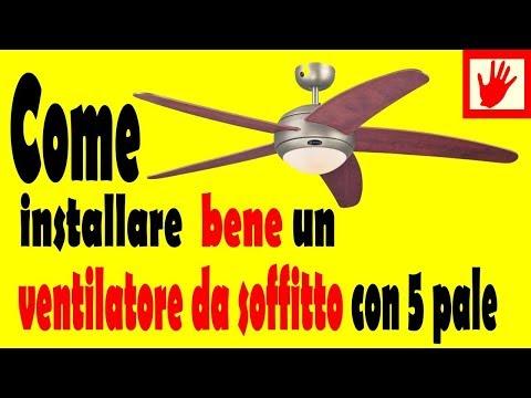 Ventilatore da soffitto a 5 pale e luce  ceiling fan with light and remote control