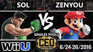 CEO 2016 Smash 4 - ATRAKT | Zenyou ( mario) Vs. Sol (Little Mac) SSB4 Tournament - Smash Wii U - dooclip.me