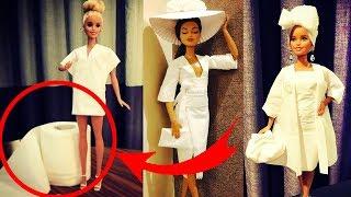 Платья из туалетной бумаги! Мужчина создает платья для кукол Барби из туалетной бумаги и салфеток.