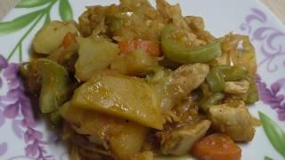 Рагу с курицей, картошкой, кабачками и капустой//Овощное рагу в мультиварке//Рагу с мясом и овощами