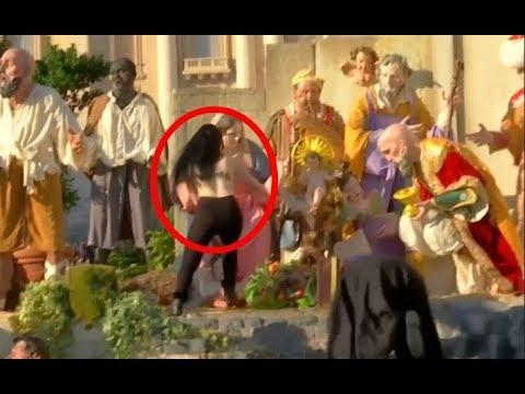 Topless activist stirs mayhem at Vatican's Nativity scene