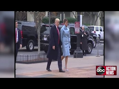 President-Elect Donald Trump and future First Lady Melania Trump arrive for church services