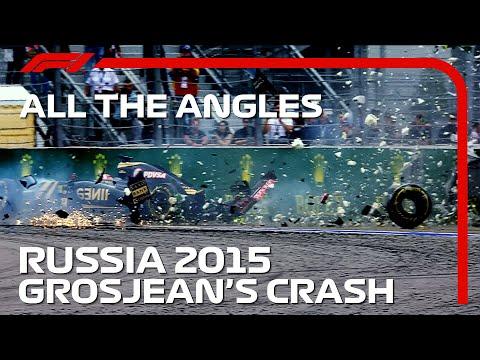 F1 2015年のロシアGPで起きたグロージャンの大クラッシュした時の映像を振り返る