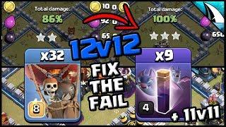 *FIX THE FAIL* Bat Spell Attacks - Th12 & Th11 | Clash of Clans