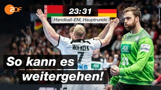 Die deutschen Handballer sind mit einem Sieg gegen Weißrussland in die Hauptrunde der Europameisterschaft gestartet und haben damit nach wie vor die Chance auf einen Platz im Halbfinale.  Mehr zur Handball-EM und weiteren Sport gibt es bei #ZDFsport https://www.zdf.de/sport#xtor=CS3-72   ZDFsport abonnieren? Hier klicken http://kurz.zdf.de/sportabo/ ZDFsport bei Facebook https://de-de.facebook.com/ZDFsport/ ZDFsport bei Instagram https://www.instagram.com/zdfsport/