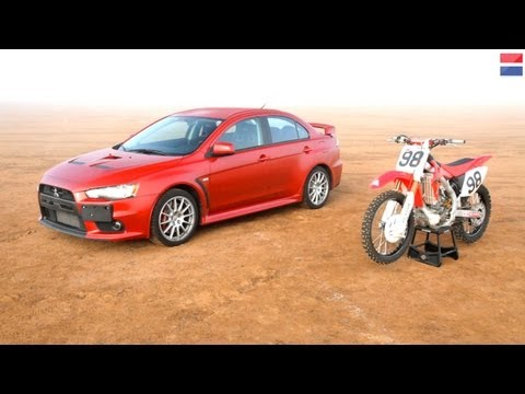 Mitsubishi Lancer Evolution GSR vs Honda CRF450R