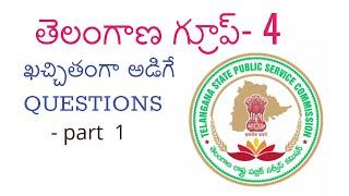 తెలంగాణ TSPSC Group-4 GK ముఖ్యమైన ప్రశ్నలు - Part-1