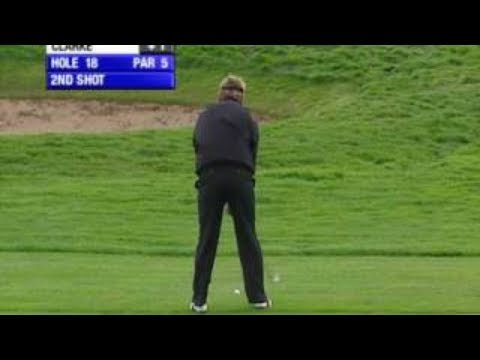 Darren Clarke has the luck of the Irish on the 18th hole of the Smurfit European Open, 2005.