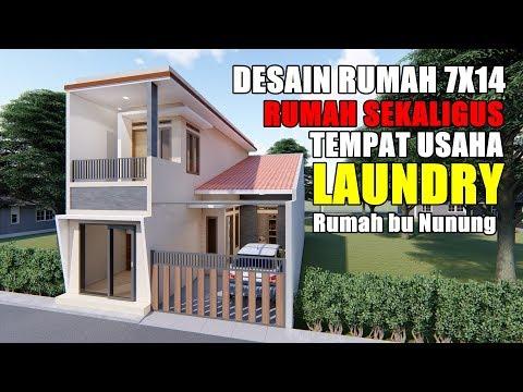 Desain Rumah Minimalis Dengan Tempat Usaha desain rumah 7x14 m sekaligus tempat usaha laundry desain