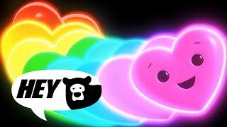 Hey Bear Sensory - Happy Hearts Disco! - Fun Video with songs and animation - Baby Sensory