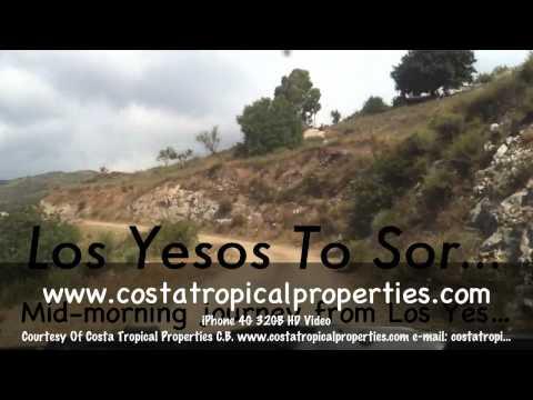 Journey  from Los Yesos, Granada 18713 to Sorvilan, Granada 18713, Costa Tropical, Andalucia, Spain.