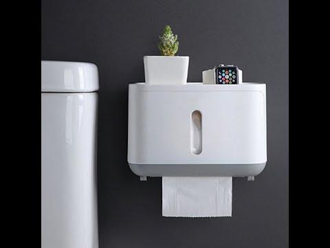 Держатель для туалетной бумаги настенный водонепроницаемый с полочкой для хранения ЕСОСО черный (ЕО-27644) Video #1