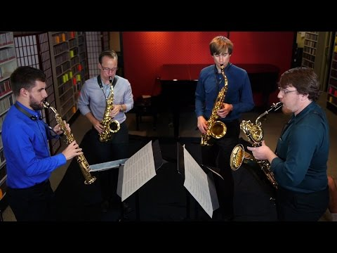 Equus Saxophone Quartet performs at KING FM's studio in Seattle (I'm on the left, playing the straight soprano saxophone)