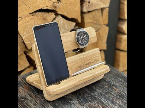 Органайзер для телефона и часов из натурального дерева (дуб) Video #1
