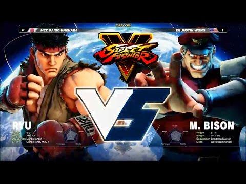 Street Fighter V / 5 Daigo (Ryu) vs justin wong (Bison) 1v1 pro tournament E3 60 fps