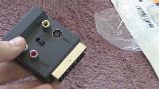 Unboxing and test of RGB SCART to Composite 3 RCA SVHS S-Video AV TV Audio Cable Adapter