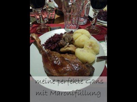 Rezept perfekte(r) Gans / Gänsebraten mit Blaukraut und Kartoffelknödel