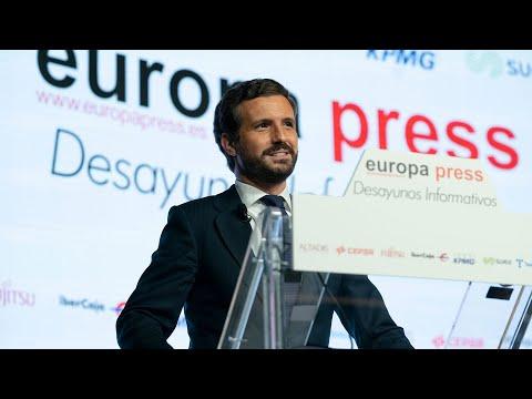 Pablo Casado interviene en los Desayunos Informativos de Europa Press