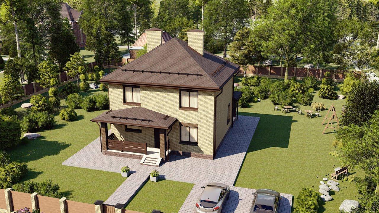 Проект дома 2 этажа с большой террасой 108 м2