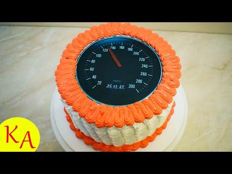 Идея декора торта для водителя в виде спидометра