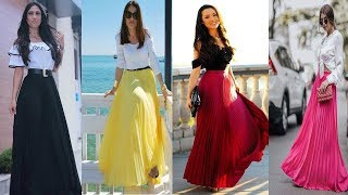 Latest Beautiful Long Skirt And Top Dresses/Casual Crop Top With Long Skirt Designs Ideas For Girls