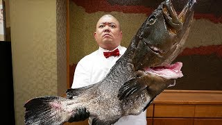 Japanese Food - GIANT GOLIATH GROUPER Sushi Teruzushi Japan