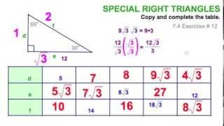7.4B  Special Right Triangle 30-60-90
