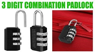 how to set & reset 3 digit combination padlock