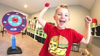 FATHER SON NERF TRICK SHOTS! / Velcro Balls