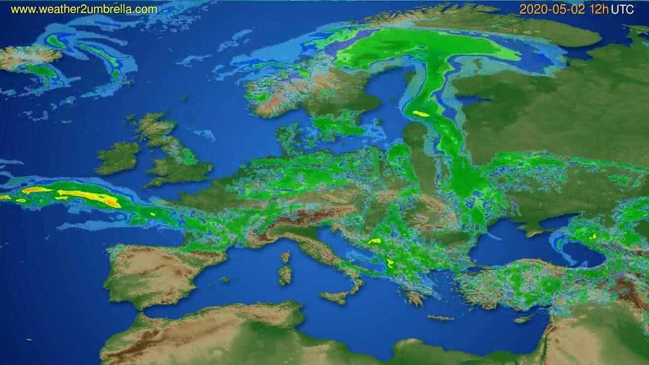 Radar forecast Europe // modelrun: 00h UTC 2020-05-02