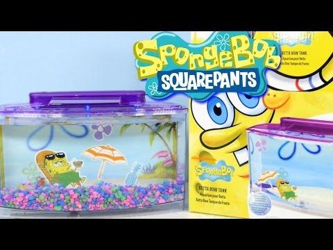Nickelodeon Spongebob Squarepants Betta Bow Fish Tank Setup + Review By Disney Cars Toy Club