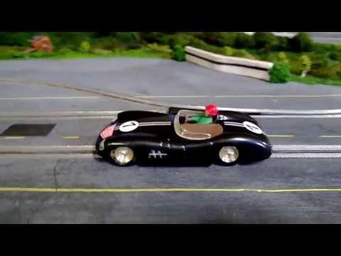 1/32 Wooden Routed Slot Car Track – 1960's theme Scalextric C57 Aston Martin Custom Lights Test