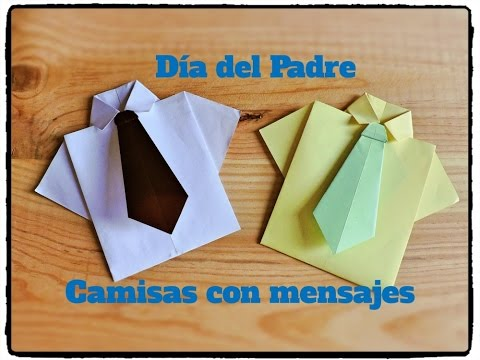 Dia Del Padre Camisa Y Corbata Origami Con Tarjeta En Su Interior