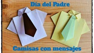 Día del Padre - Camisa y corbata Origami con Tarjeta en su interior.
