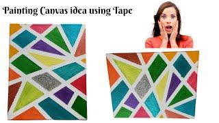 Canvas Painting Ideas  Geometric Painting Technique Easy Art Idea #canvas Painting