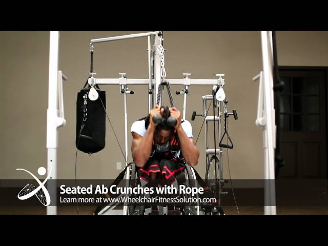 Wheelchair Fitness Solution | Exercise: Seated Ab Crunches with Rope (34 of 40)