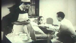 Woman treated by hospital doctor, Archive film 91447
