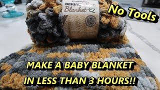 DIY Easiest Baby Blanket using Loop Yarn *NO TOOLS*