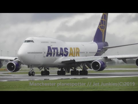 (HD) A Very Wet And Busy Day Of Plane Spotting With Lots Of Action At Manchester Airport On 28/09/19